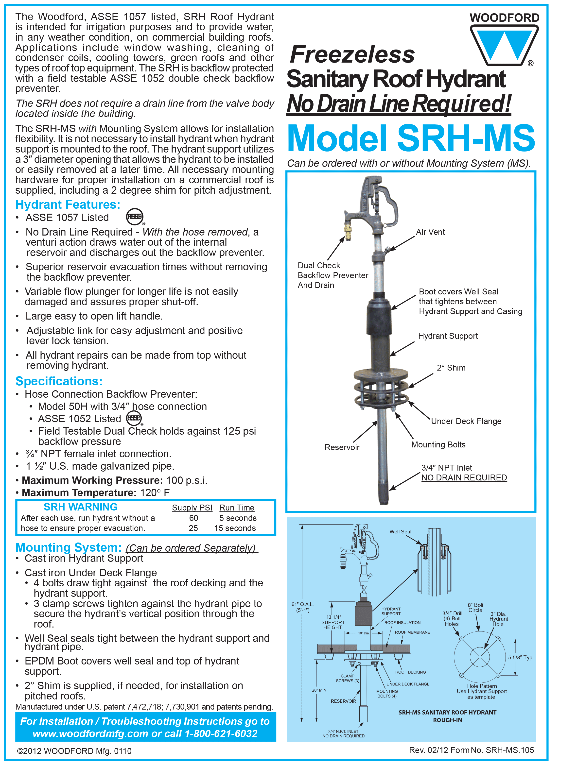 Woodford Model Srh Ms Freezeless Sanitary Roof Hydrant