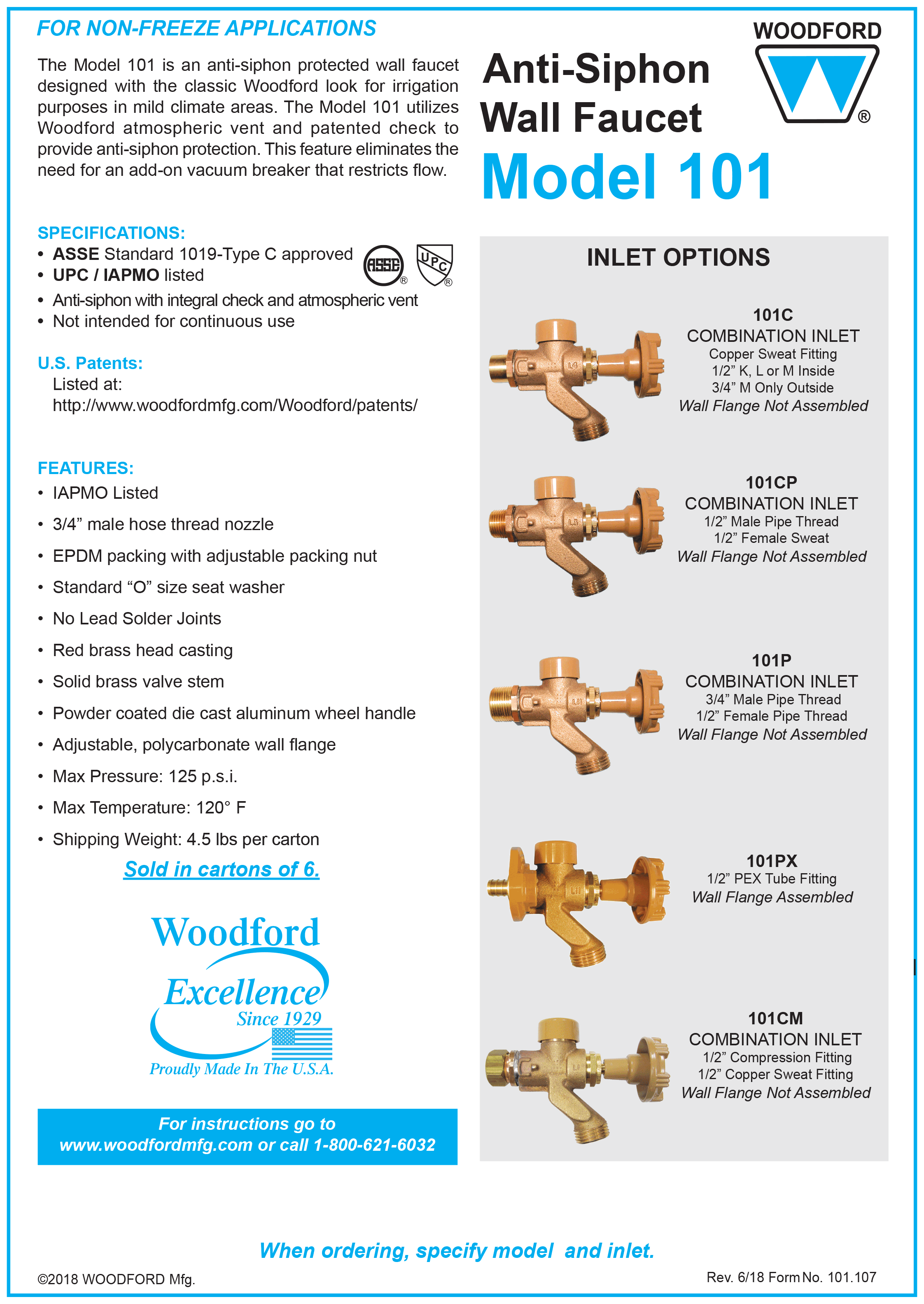 Woodford Model 101 Mild Climate Faucet