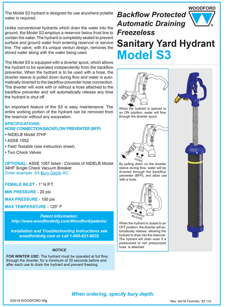 Woodford Model Srh Ms Sanitary Roof Hydrant