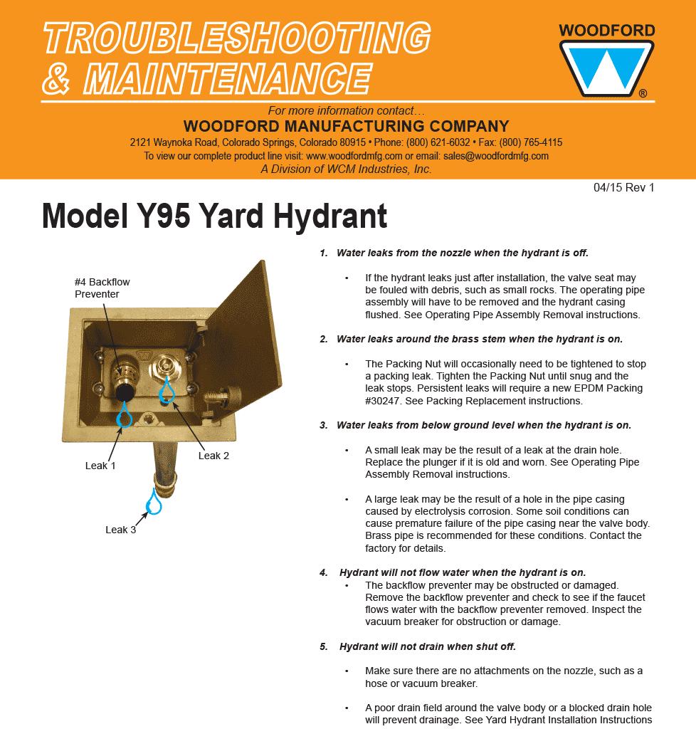 Woodford Model Y95 Freezeless Yard Hydrant