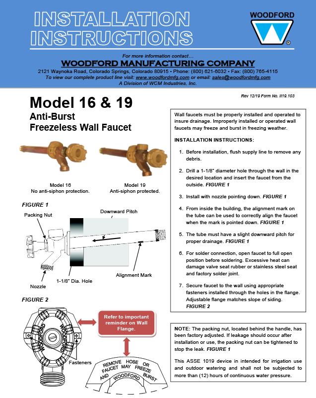 Woodford Model 16 Freezeless Faucet