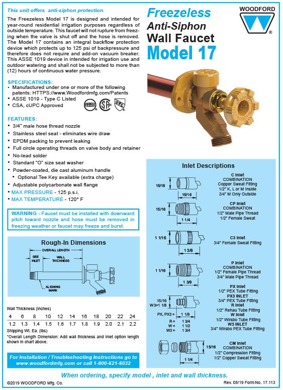 Woodford Model 17 Freezeless Faucet