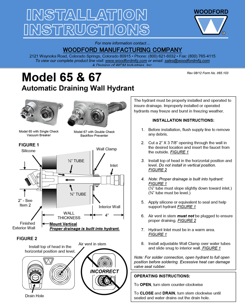 Woodford Model 67, B67, Modular & Round Box Hydrants
