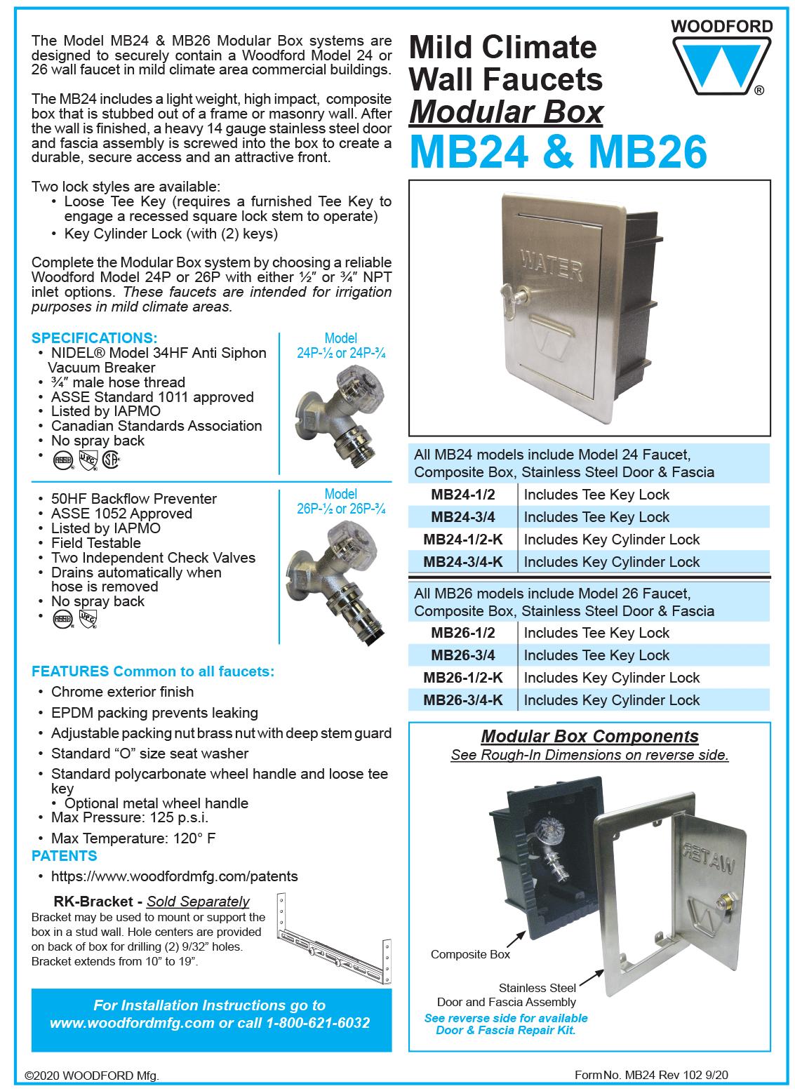Key Lock Woodford RK-24MBDR-K Stainless Steel Door And Fascia Repait Kit